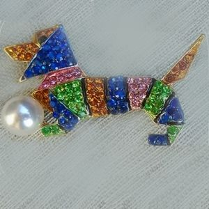 Jewelry - Multicolored Faux Jeweled Dachshund Brooch/Pin